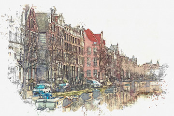 illustration or watercolor sketch. Traditional old architecture in Amsterdam. European architecture.
