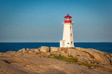 View of Peggy's Cove lighthouse at sunrise, Nova Scotia, Canada