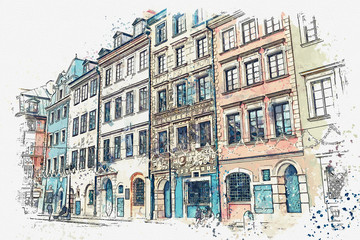 A watercolor sketch or illustration of a traditional street with apartment buildings in Warsaw, Poland.