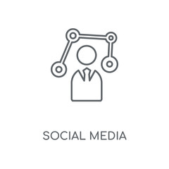 Social media linear icon. Social media concept stroke symbol design. Thin graphic elements vector illustration, outline pattern on a white background, eps 10.