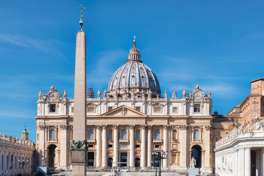 St. Peter's Basilica on St. Peter's square in Vatican, Rome, Italy