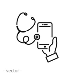 telemedicine icon, stethoscope and  smartphone with medical linear sign isolated on white background - editable vector illustration eps10