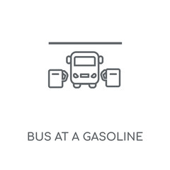 Bus at a gasoline station linear icon. Bus at a gasoline station concept stroke symbol design. Thin graphic elements vector illustration, outline pattern on a white background, eps 10.