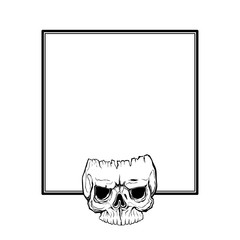 skull frame design. horror style decorative border, isolated on white background. elegant art object. Empty copy space for decoration, photo, banner. Vector illustration tattoo design. symbol border.