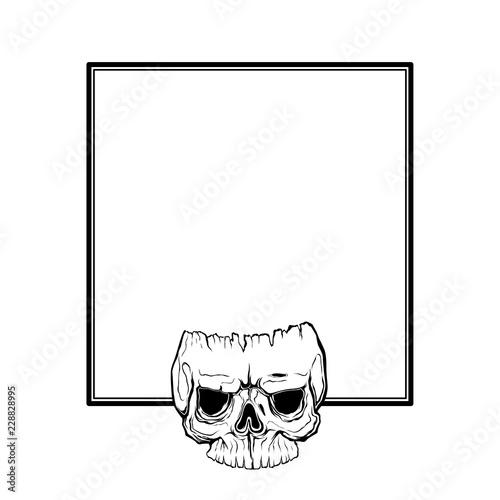 skull frame design. horror style decorative border, isolated on ...