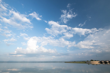 clouds and blue sky over the lake.