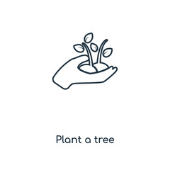Plant a tree concept line icon. Linear Plant a tree concept outline symbol design. This simple element illustration can be used for web and mobile UI/UX.