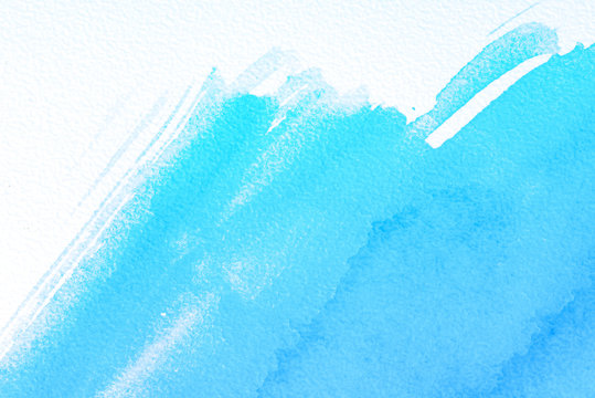 light blue background cyan watercolor hand-drawn brush with a jagged edge and white paper with a texture