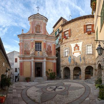 Seborga, Italy: The church of San Martino in the ancient village in Liguria