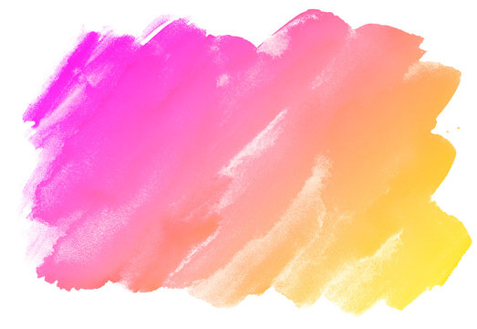 freehand brush watercolor stain with a gradient from magenta to yellow