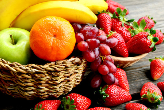 mixed summer fruits in the basket