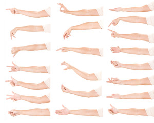 Multiple male hand gestures isolated over the white background, set of multiple images