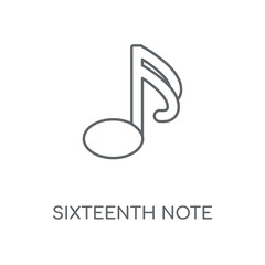 Sixteenth note linear icon. Sixteenth note concept stroke symbol design. Thin graphic elements vector illustration, outline pattern on a white background, eps 10.