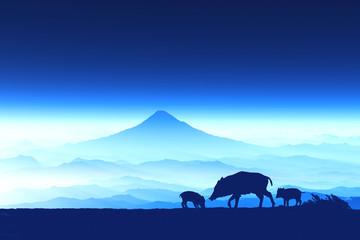 富士山の夜明けとイノシシのシルエット