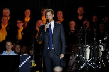 Britain's Prince Harry speaks during the opening ceremony of the Invictus Games at the Sydney Opera House, Sydney