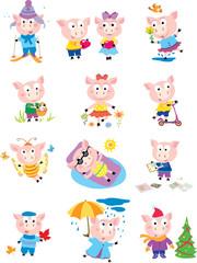 pig, fun, drawing, vector, images, seasons
