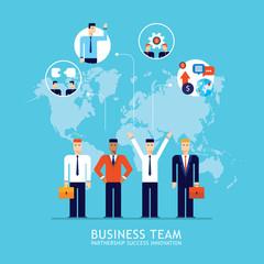 Business team Businessman successful teamwork Partnership concept Flat design Vector illustration