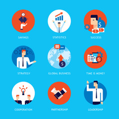 Successful business people Partnership flat icon set Happy businessman infographics Vector illustration
