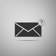 Envelope with question mark icon isolated on grey background. Letter with question mark symbol. Send in request by email. Flat design. Vector Illustration
