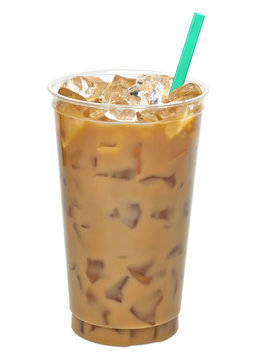 Iced latte or coffee in togo or takeaway cup isolated on white background. Including clipping path.