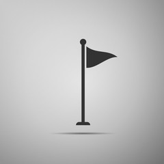 Golf flag icon isolated on grey background. Golf equipment or accessory. Flat design. Vector Illustration