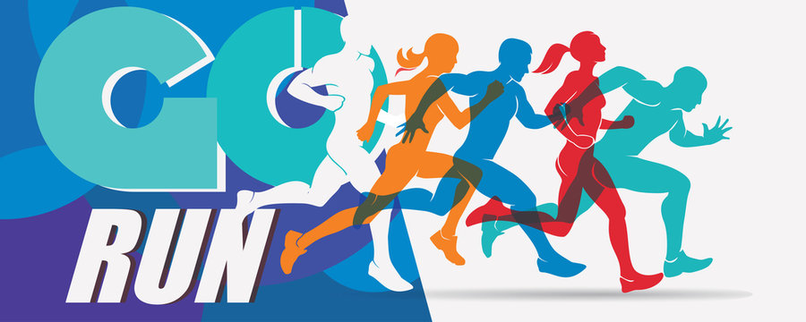 running people set of stylized silhouettes, sport and activity  background