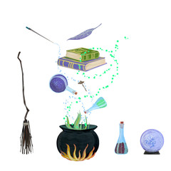 Gouache magic set for witch