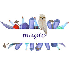 Magic logo frame owl