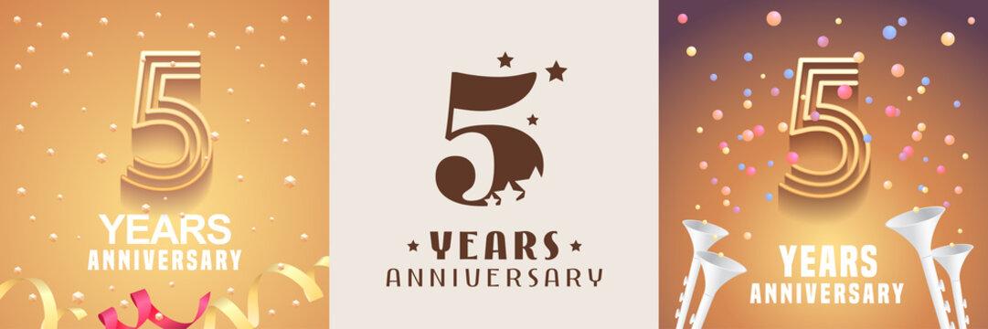 5 years anniversary set of vector icon, symbol. Graphic design element