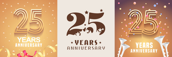 25 years anniversary set of vector icon, symbol. Graphic design element