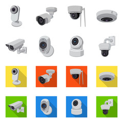 Vector illustration of cctv and camera sign. Collection of cctv and system stock vector illustration.