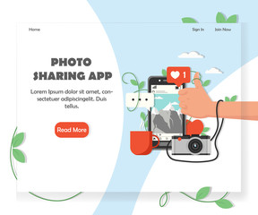 Social photo sharing service website vector design template
