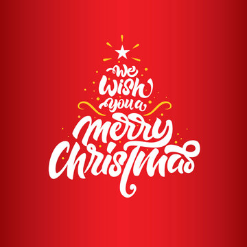 we wish you a merry Christmas lettering. Christmas lettering tree . Christmas lettering for posters, postcards, gifts and much more