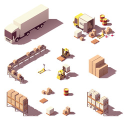 Vector isometric low poly warehouse equipment