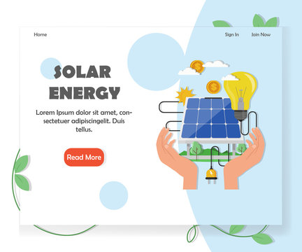 Green solar and renewable energy website vector template