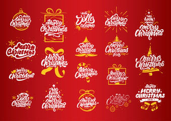 Merry Christmas lettering designs. Christmas tree yellow illustrations. Merry Christmas & Happy New Year typography. Merry Christmas lettering logos for postcard, poster, gift and T-shirt