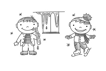 Boy lick the icicle, boy skating. Bad and good children behavior, hand drawn vector illustration.