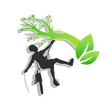 élagueur élagage paysagiste arbre grimpeurs taille plantes logo bûcheron coupe tronçonneuse feuillage