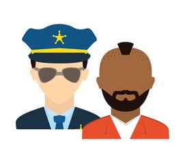 police agent with prisoner