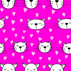 Seamless pattern with cats and heart on purple background. Wallpaper and fabric design.