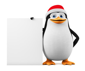 The cheerful penguin holds an empty board on a white background. 3d render illustration.