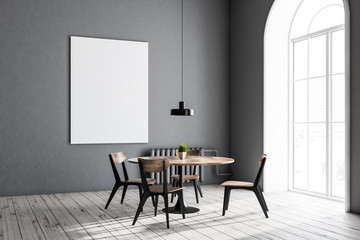 Gray dining room corner, round table, poster