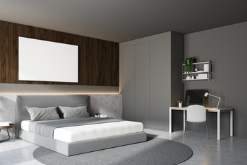 Wooden and gray bedroom with home office