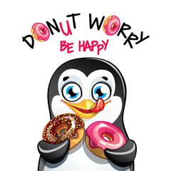 Vector illustration of cartoon penguin with donuts