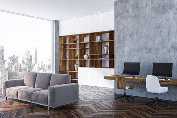 Gray home office corner, bookcase and sofa