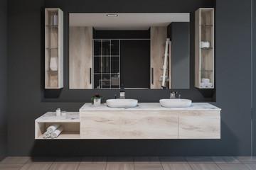 Gray bathroom interior, double sink