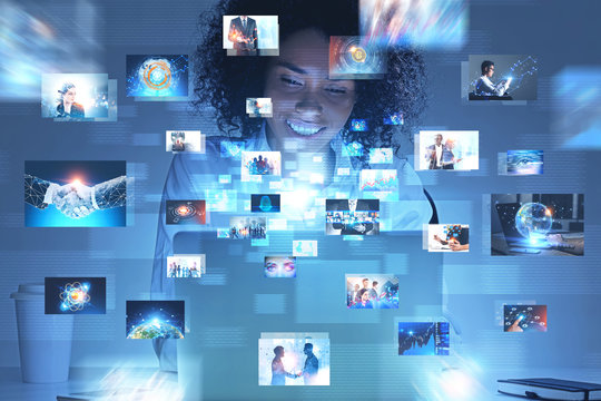 Many business pictures interface, woman