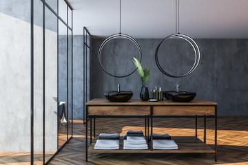 Gray and glass bathroom interior, double sink