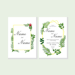 Wedding Invitation, floral invite thank you, rsvp modern card design with green leaf greenery and branches decorative wreath & frame pattern. Vector elegant watercolor rustic template.