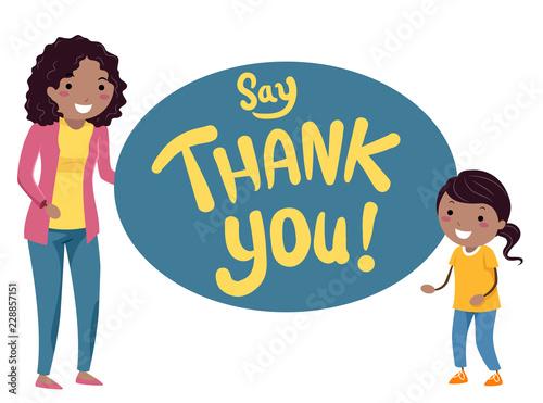 Stickman Kids Mom Say Thank You Illustration Imágenes De Archivo Y
